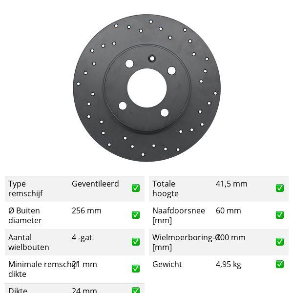 Geperforeerde remschijven voorzijde Sport kwaliteit OPEL ASTRA G Hatchback 1.6 16V