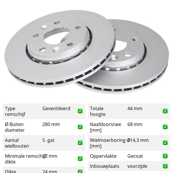 Remschijven voorzijde originele kwaliteit RENAULT MEGANE III Grandtour 1.5 dCi