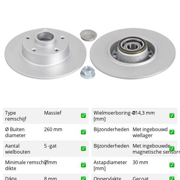 Remschijven achterzijde inclusief lagers en ABS-ring originele kwaliteit RENAULT MEGANE III Grandtour 1.5 dCi