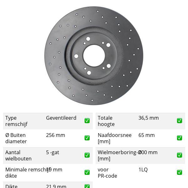 Geperforeerde remschijven voorzijde Sport kwaliteit VW VOLKSWAGEN POLO (6R1, 6C1) 1.2 TDI