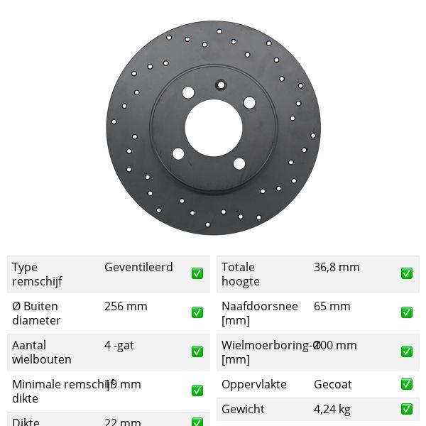 Geperforeerde remschijven voorzijde Sport kwaliteit VW VOLKSWAGEN UP! (121, 122, BL1, BL2, BL3, 123) 1.0